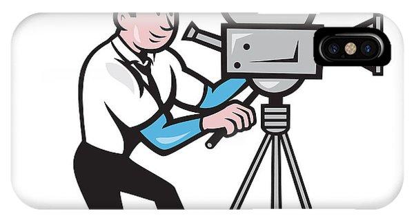 Cameraman Vintage Film Movie Camera Side Cartoon Phone Case By Aloysius Patrimonio