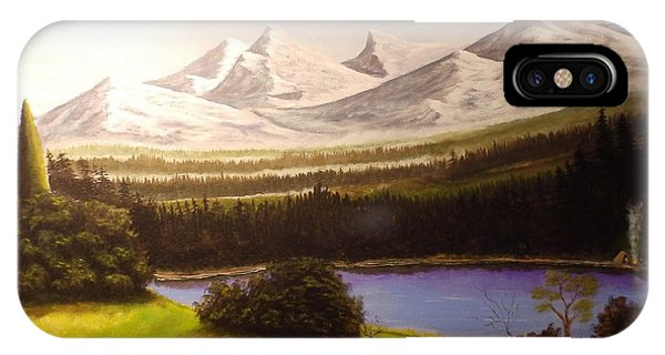 Camping By The Mountains. IPhone Case