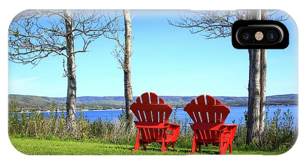 Canada, Nova Scotia, Adirondack Chairs Phone Case by Patrick J. Wall
