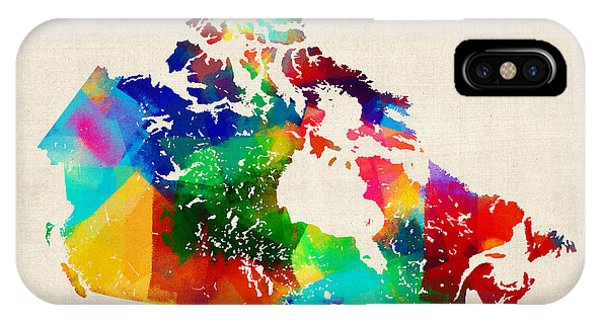 Canada Rolled Paint Map Phone Case by Michael Tompsett