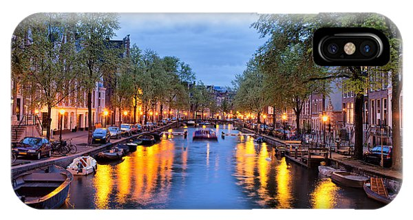 Canal In Amsterdam At Dusk IPhone Case