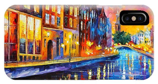iPhone Case - Canal In Amsterdam by Leonid Afremov