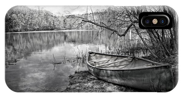 Chilhowee iPhone Case - Canoe At The Lake Black And White by Debra and Dave Vanderlaan