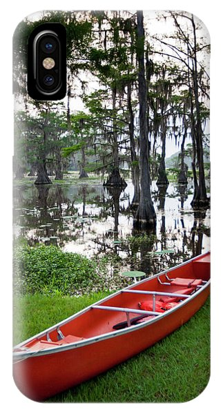Bald Cypress iPhone Case - Canoe By Caddo Lake, Texas's Largest by Larry Ditto
