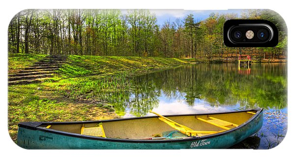Chilhowee iPhone Case - Canoeing At The Lake by Debra and Dave Vanderlaan