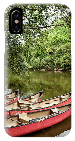 Belize iPhone Case - Canoeing The Macal River In Jungle Area by Michele Benoy Westmorland