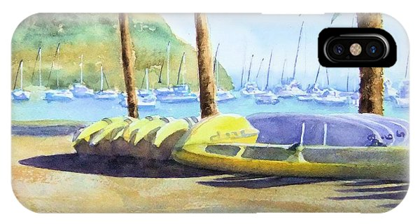 Canoes And Surfboards In The Morning Light - Catalina IPhone Case