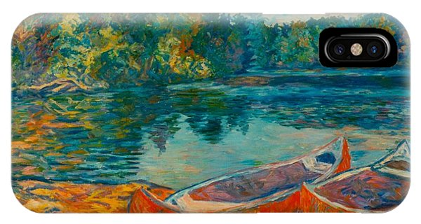 IPhone Case featuring the painting Canoes At Mountain Lake by Kendall Kessler