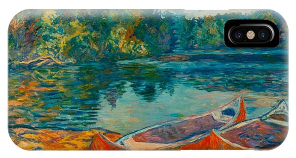 Canoes At Mountain Lake IPhone Case