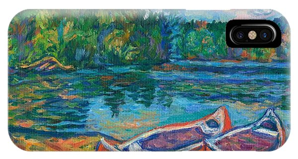 IPhone Case featuring the painting Canoes At Mountain Lake Sketch by Kendall Kessler