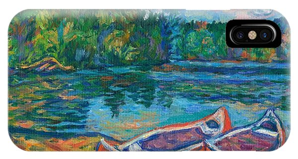 Canoes At Mountain Lake Sketch IPhone Case