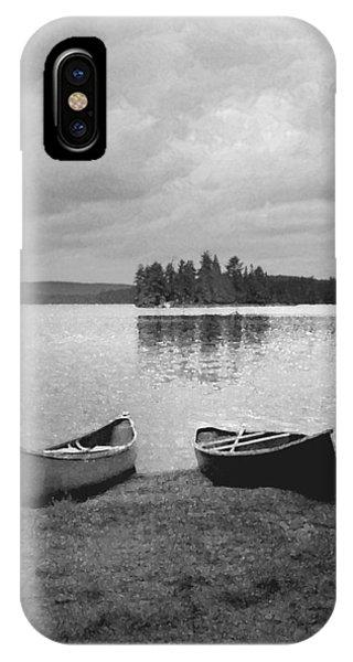 Canoes - Canisbay Lake - B N W IPhone Case