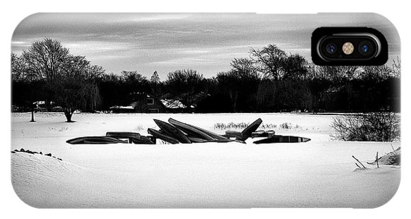 Canoes In The Snow - Monochrome IPhone Case