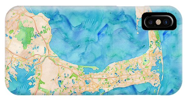IPhone Case featuring the digital art Cape Cod Watercolor Map by Joy McKenzie