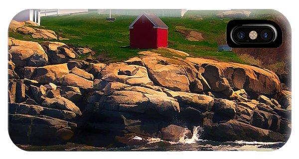 Cape Neddick Lighthouse iPhone Case - Cape Neddick Lighthouse  At Sunset  by Elaine Plesser
