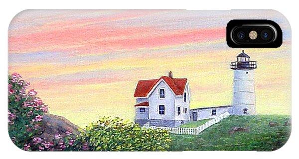 Cape Neddick Lighthouse iPhone Case - Cape Neddick Sunrise by Fran Brooks