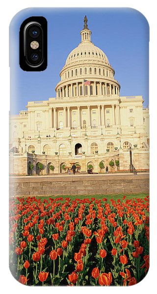 Capitol Building iPhone Case - Capitol Building With Bed Of Tulips by Panoramic Images