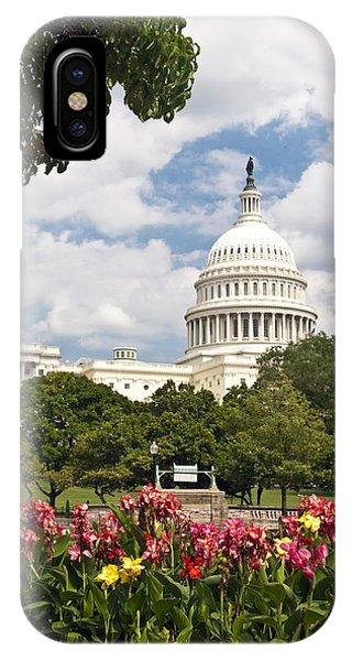 Capitol Buildingwashington Dc And Flower Garden IPhone Case