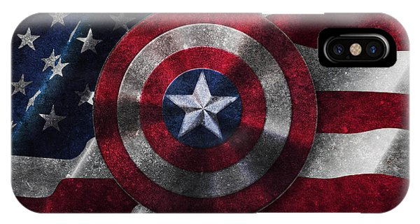 Captain America Shield On Usa Flag IPhone Case