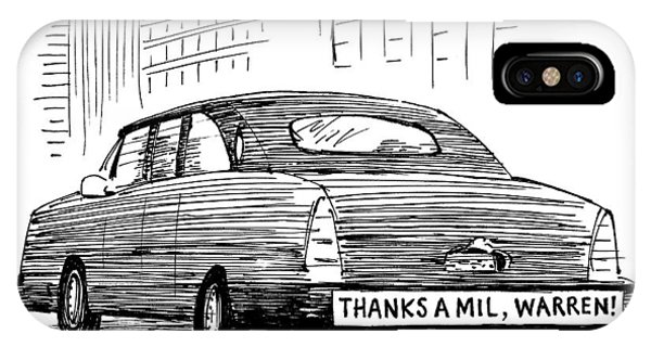 Captionless. Bumper Sticker On Car Reads: Thanks IPhone Case