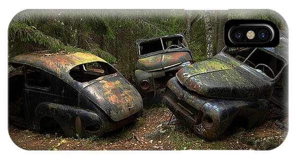 Cemetery iPhone Case - Car Cemetery In The Woods. by Steen Lund Hansen