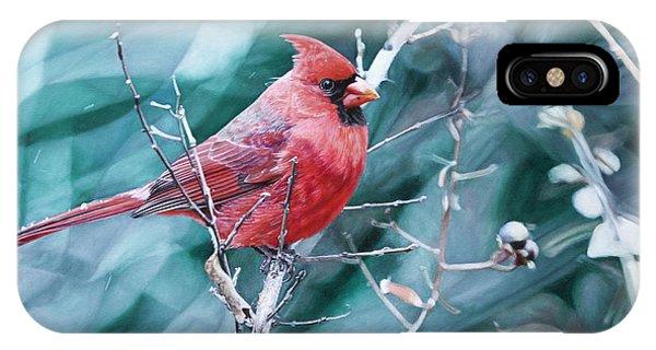 Hyper Realism iPhone Case - Cardinal In Winter by Joshua Martin