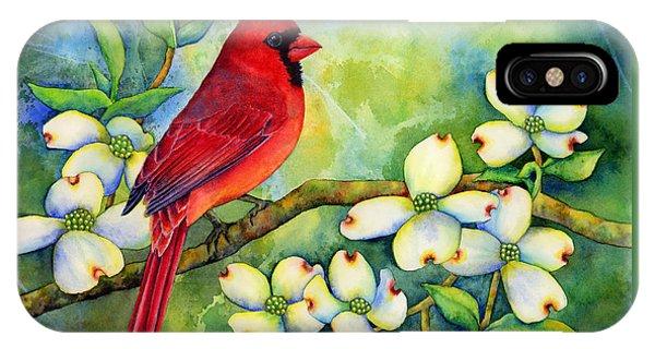 Branch iPhone Case - Cardinal On Dogwood by Hailey E Herrera