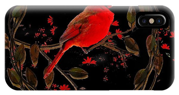 Cardinal On Metal Wreath IPhone Case
