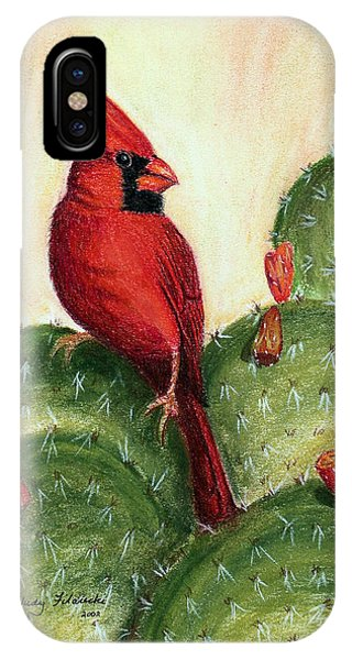 Cardinal On Prickly Pear Cactus IPhone Case