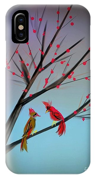 Cardinals In The Flowering Crab IPhone Case