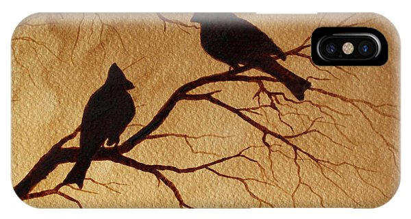 Cardinals Silhouettes Coffee Painting IPhone Case