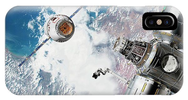 International Space Station iPhone Case - Cargo Ship Approaching The Iss by Nasa/walter Myers/science Photo Library