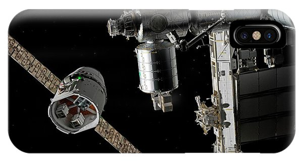 International Space Station iPhone Case - Cargo Ship Approaching The Iss by Walter Myers/science Photo Library
