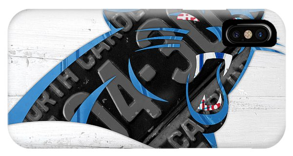 Nerd iPhone Case - Carolina Panthers Football Team Retro Logo Recycled North Carolina License Plate Art by Design Turnpike