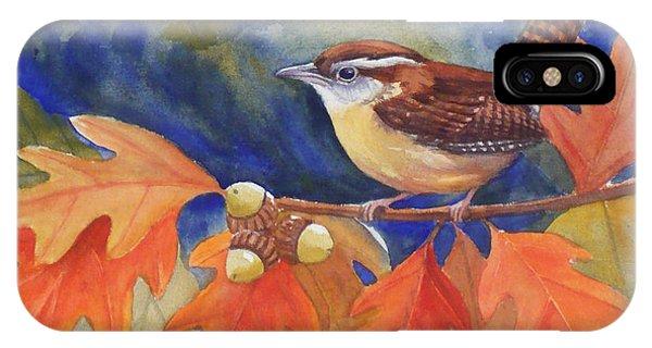 Carolina Wren In Autumn IPhone Case