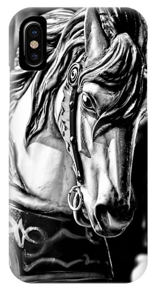Carousel Horse Two - Bw IPhone Case