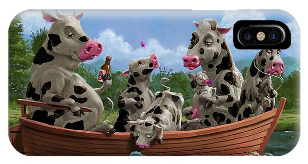 Cartoon Cow Family On Boating Holiday IPhone Case