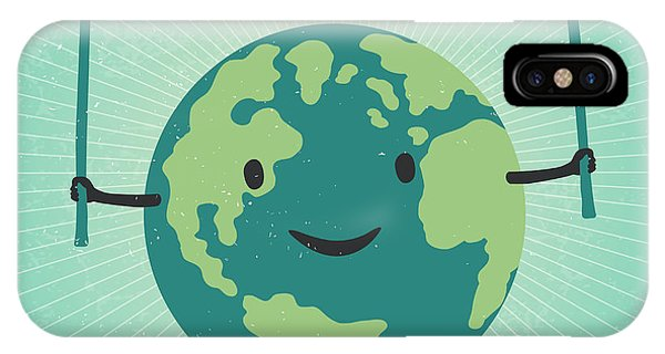 Planet iPhone Case - Cartoon Earth Illustration. Planet by Pashabo