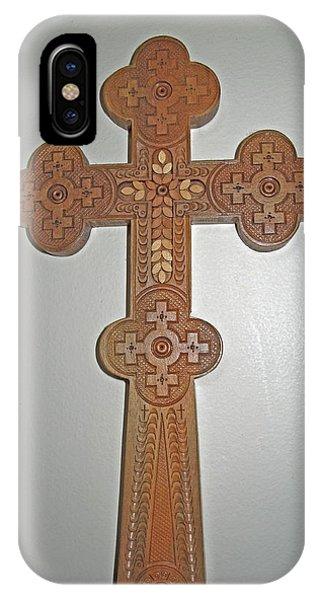 Carved Ukrainian Wooden Cross IPhone Case