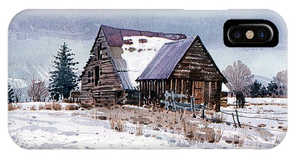 Barn Snow iPhone Case - Cache Valley Barn by Donald Maier