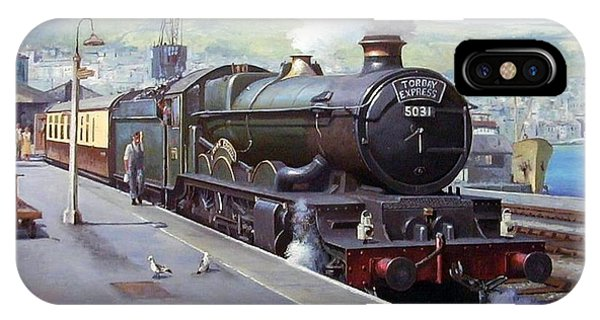 Trains iPhone Case - Castle At Kingswear 1957 by Mike Jeffries