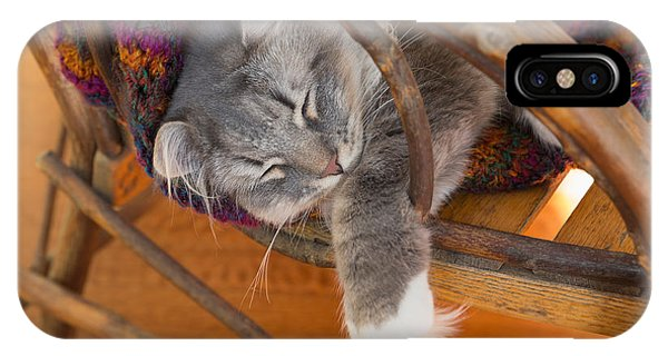 Cat Asleep In A Wooden Rocking Chair IPhone Case