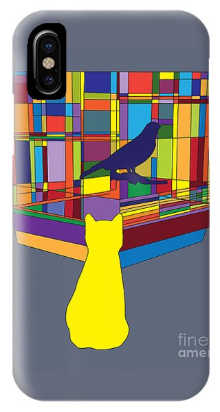 Cat Bird Pop IPhone Case