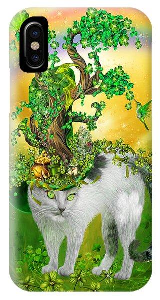 St. Patricks Day iPhone Case - Cat In Blarney Garden Hat by Carol Cavalaris