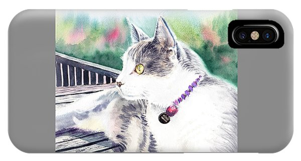 Watercolor Pet Portraits iPhone Case - Cat by Irina Sztukowski
