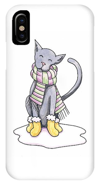 Cat Wearing Scarf Phone Case by Christy Beckwith
