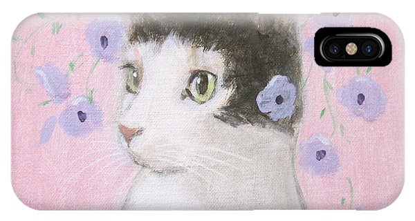 Cat With Purple Flowers IPhone Case