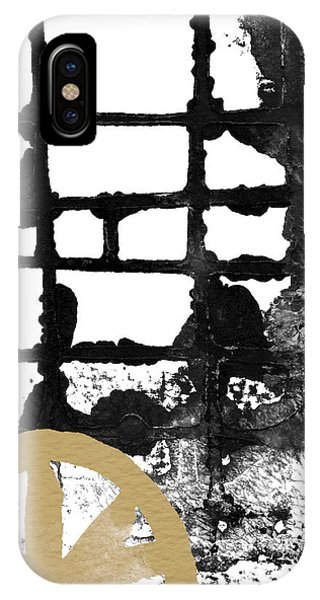 Black And White Art iPhone Case - Cathedral- Abstract Painting by Linda Woods