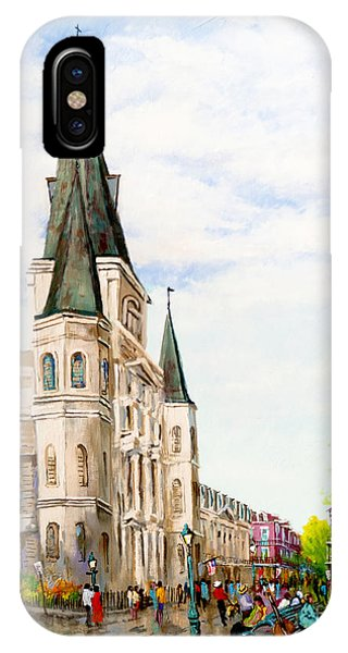 French Artist iPhone Case - Cathedral Plaza - Jackson Square, French Quarter by Dianne Parks