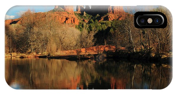 Cathedral Rock iPhone Case - Cathedral Rock Reflections At Sunset by Michel Hersen